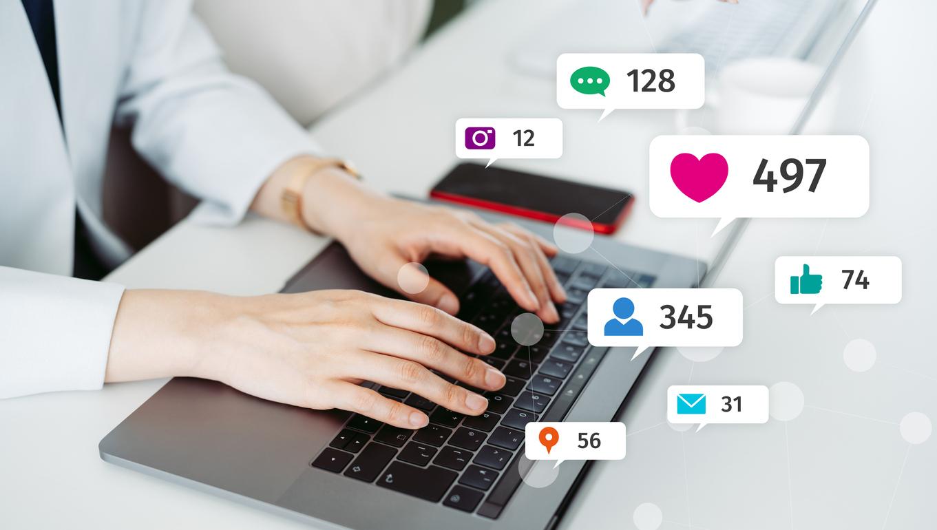Social media presence on laptop